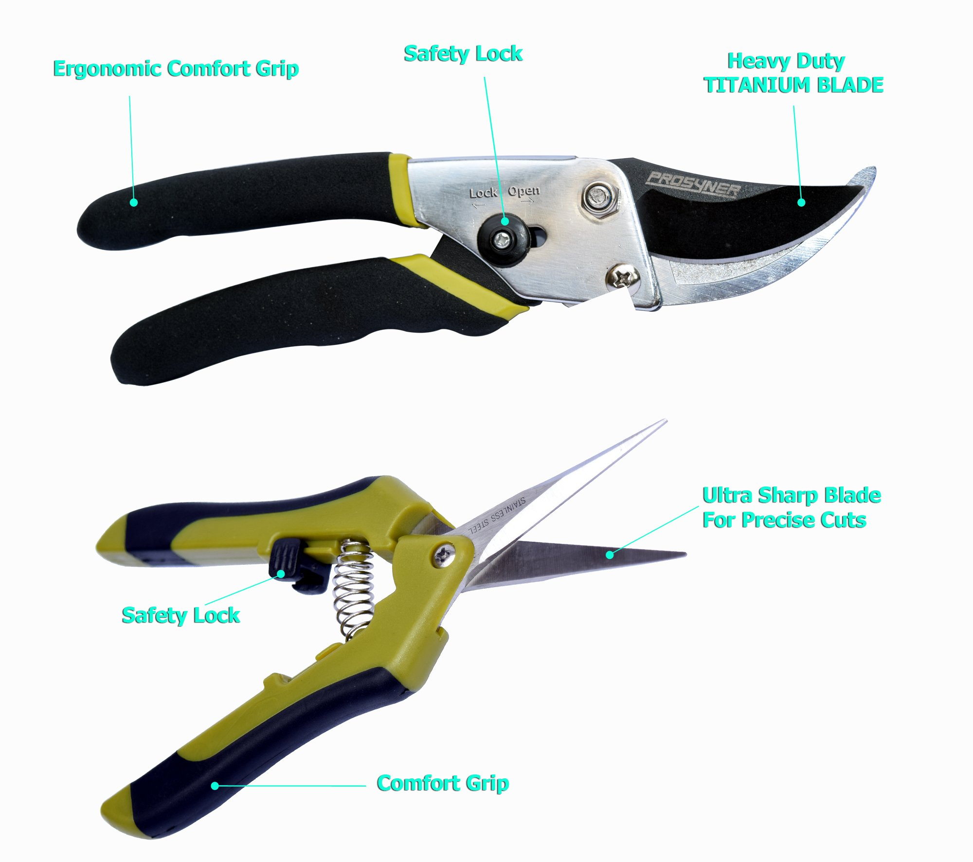 Bypass Pruning Shears Kit - Stainless Steel Gardening Hand Pruner and 1 Micro-Tip Snip Garden Clipper with Sharp Blades for Comfortable Trimming (Set of 2) by Prosyner (Image #6)