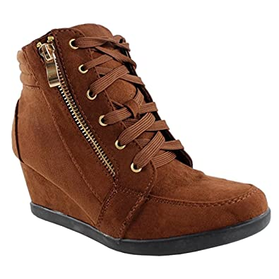 c41618ce5ea Women High Top Wedge Heel Sneakers Platform Lace up Tennis Shoes Ankle  Bootie