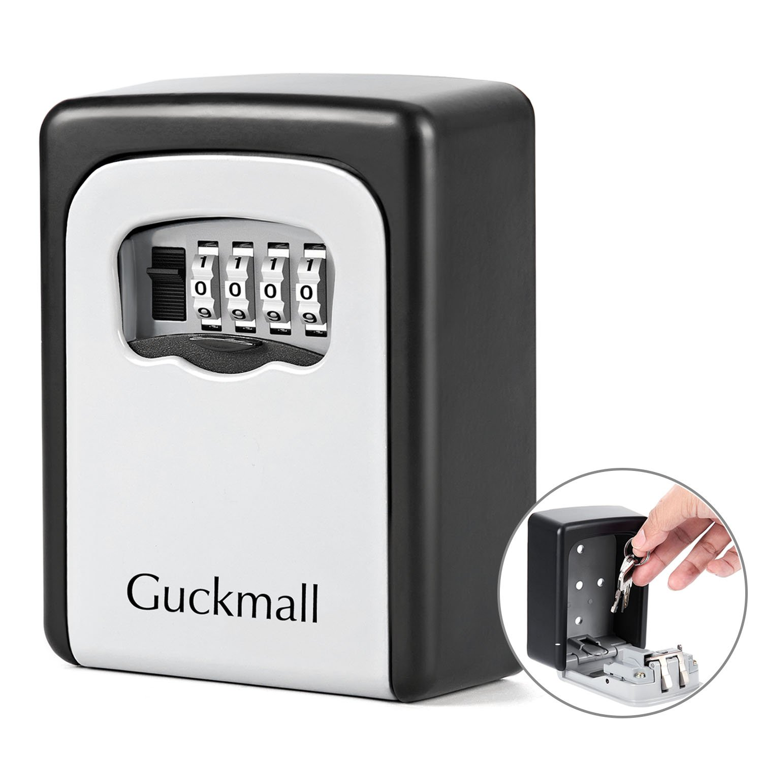 Guckmall Key Storage Lock Box, 4-Digit Combination Lock Box, Wall Mounted Stainless Steel Key Safe Box Weatherproof Indoor Outdoor