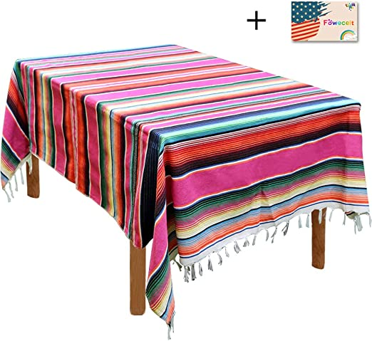 Mexican Serape Table Runner Tablecloth Picnic Blanket Home Party Table Cover Dec