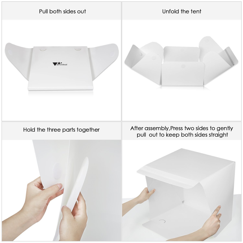 amzdeal - Kit de Caja de luz Estudio fotográfico portátil Tienda de campaña Plegable fotografía Estudio fotográfico luz Tienda de campaña 40 * 40 cm en LED ...