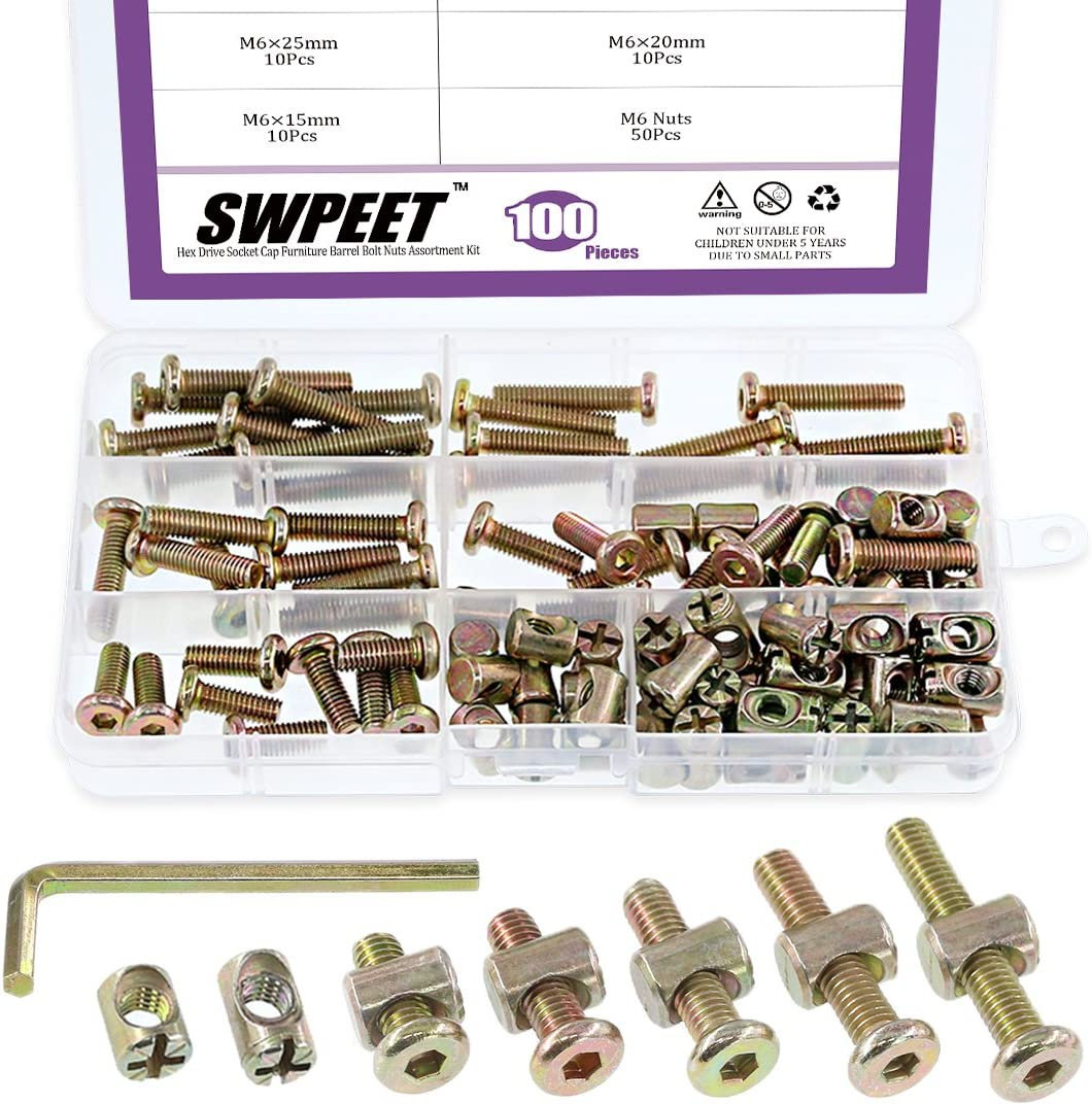 Swpeet 100Pcs Crib Hardware Screws, Zinc Plated M6×15/20/25/30/35mm Hex Socket Head Cap Crib Baby Bed Bolt and Barrel Nuts with 1 x Allen Wrench Perfect for Furniture, Cots, Crib Screws
