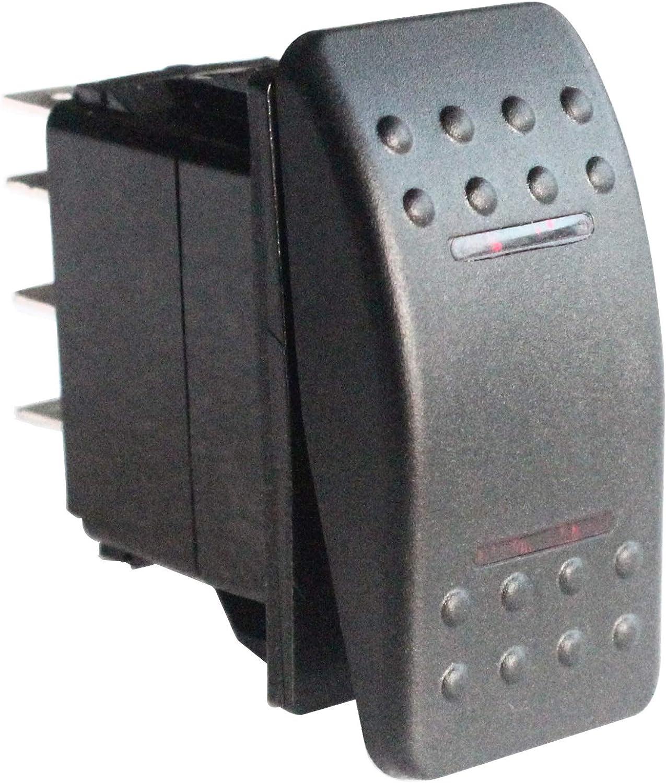 HYY 12v//24v Waterproof 7 Pins 2 RED LED Light On-Off-on Marine Boat Dpdt Rocker Switch