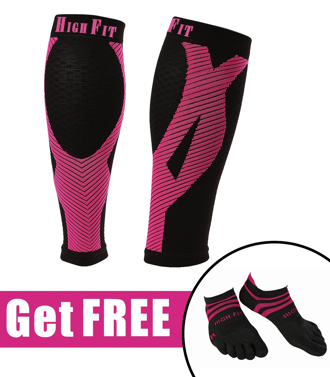 HIGH FIT Pro Calf Compression Sleeve + Free Seamless Sport Socks - Enjoy Extra Support, Enhanced Performance & Faster Recovery (Pink, L)