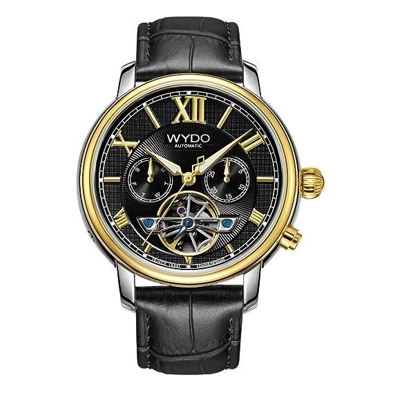 wydo hombre 006 GB automático multifunción reloj con piel banda: WYDO: Amazon.es: Relojes