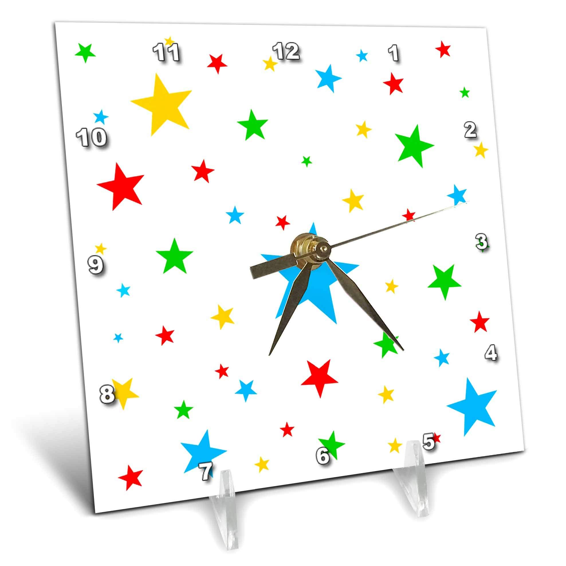 3dRose Alexis Design - America - Fifty Stars Of Freedom. Colorful stars against the white background - 6x6 Desk Clock (dc_288374_1)
