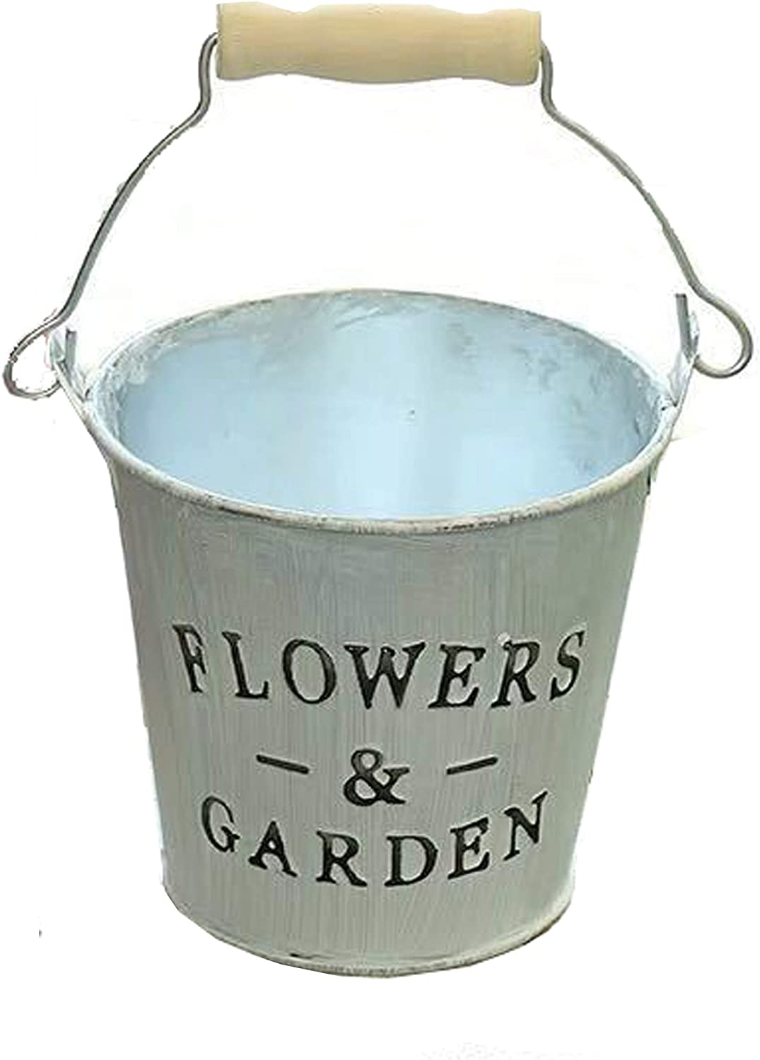 Rustic Mini Tin Garden Bucket Planter with Wood Handle, Metal Flower Pot Succulent Container Planter for Home and Office Décor.