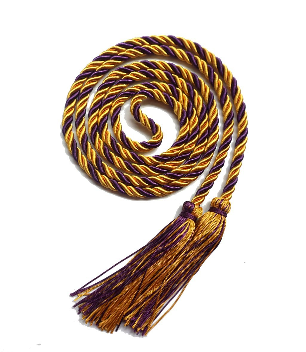 Graduation Honor Cord Two-color Braided Grad Days Gold Purple