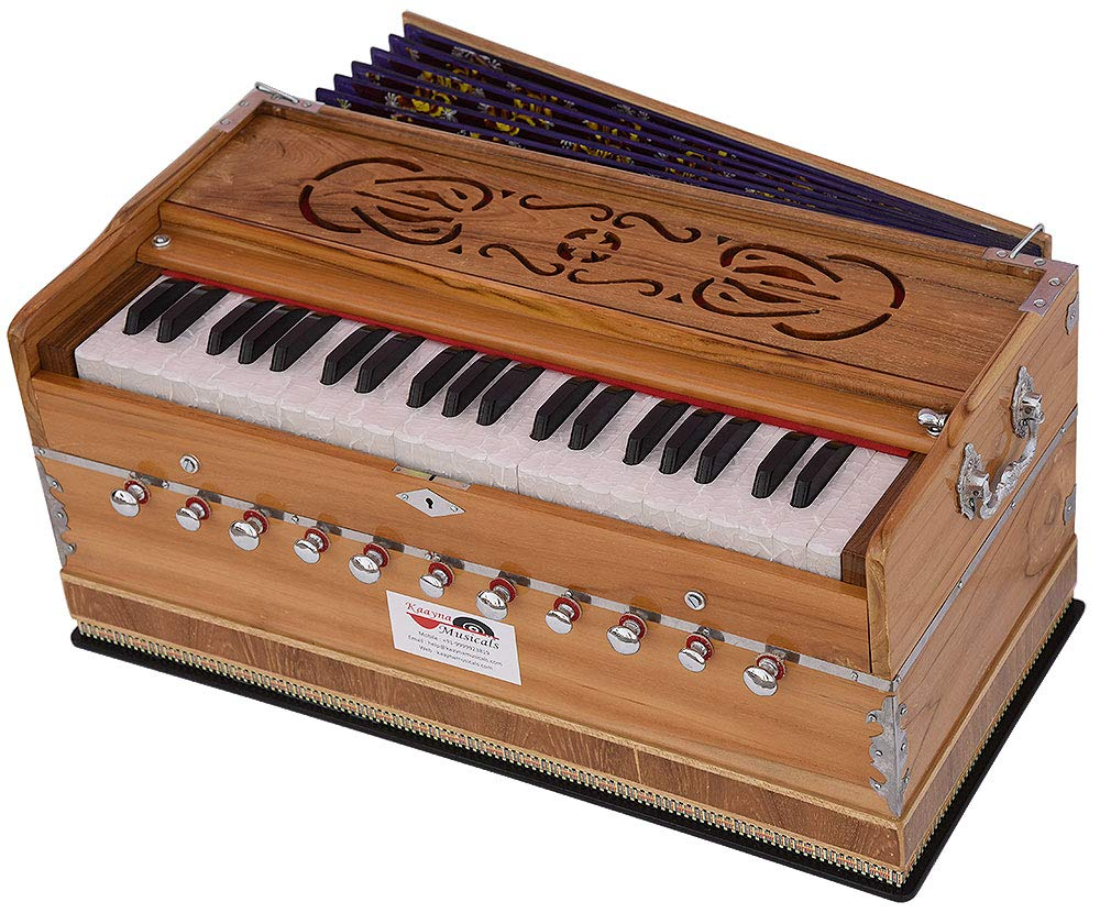 Harmonium Teak Wood By Kaayna Musicals, 11 Stops- 6 Main & 5 Drone, 3½ Octaves, Coupler, Natural Wood Color, Gig Bag, Bass/Male Reed- 440 Hz, Best for Yoga, Bhajan, Kirtan, Shruti, Mantra, etc by Kaayna Musicals (Image #5)