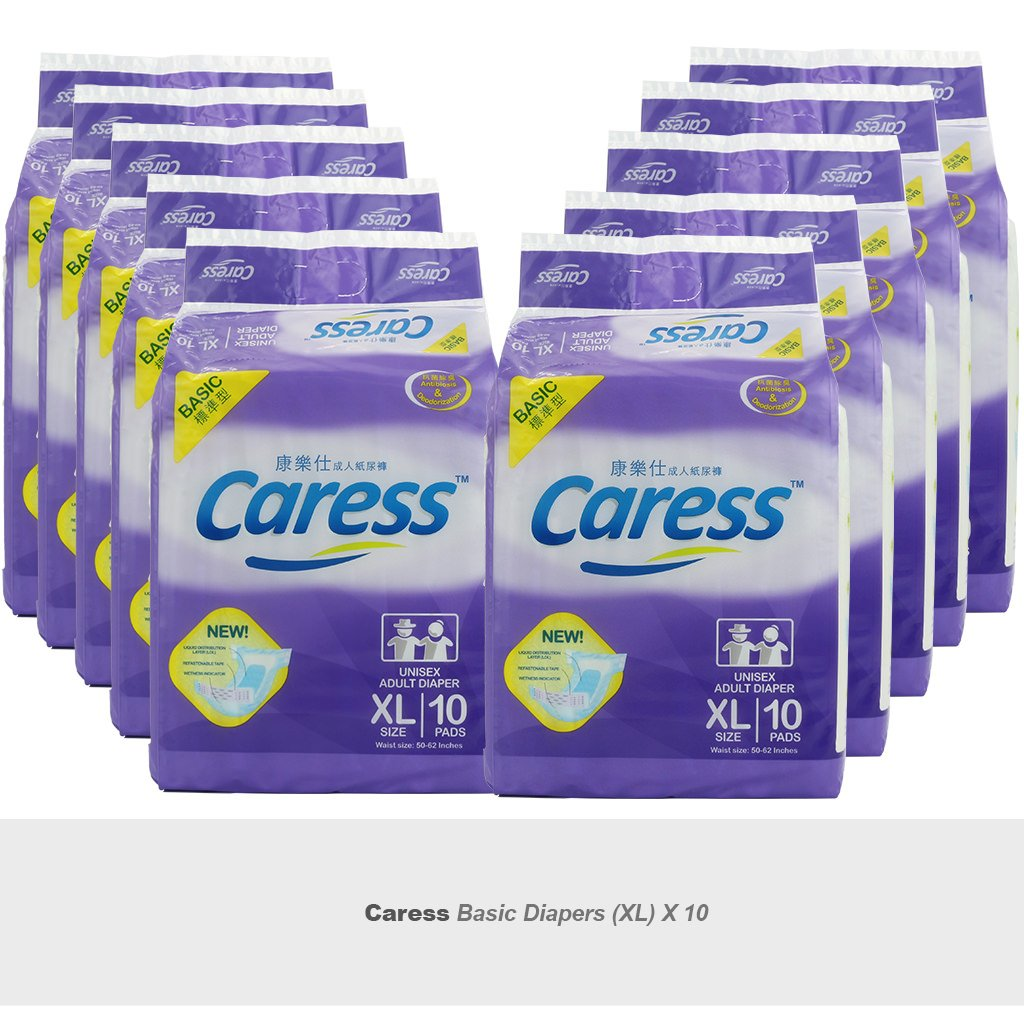 10 x Adult Diaper Premium Basic Size XL Caress