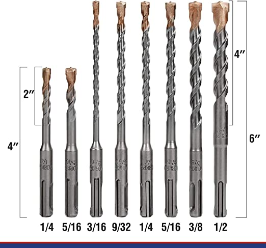 8 mm de di/ámetro x 400 x 460 mm KWB Broca para martillo perforador profesional H4 SDS-plus Premium Line Made in Germany 244738