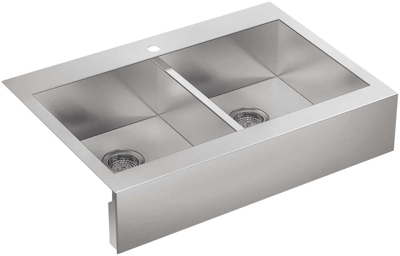 KOHLER Vault Double Bowl 18-Gauge Stainless Steel Apron Front Single Faucet Hole Kitchen Sink, Top-mount Drop-in Installation K-3944-1-NA