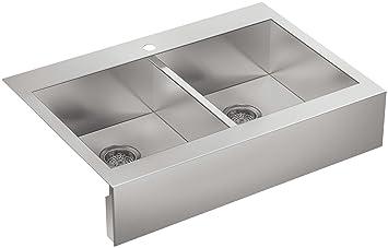 kohler k39441na single hole stainless steel sink with shortened apron