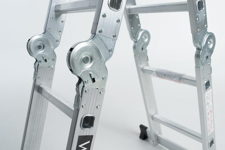 WORHAN/® 2.5m Escalera Multiuso Multifuncional Plegable Tijera Aluminio con 2 Estabilizadores Nueva Generaci/ón Calidad Alta KS2.5