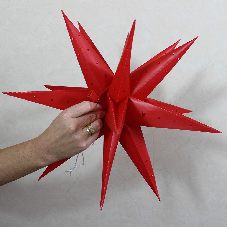 Weihnachtsstern 42cm Rot LED Au/ßenstern 3D Adventsstern Stern Leuchtstern mit Timer