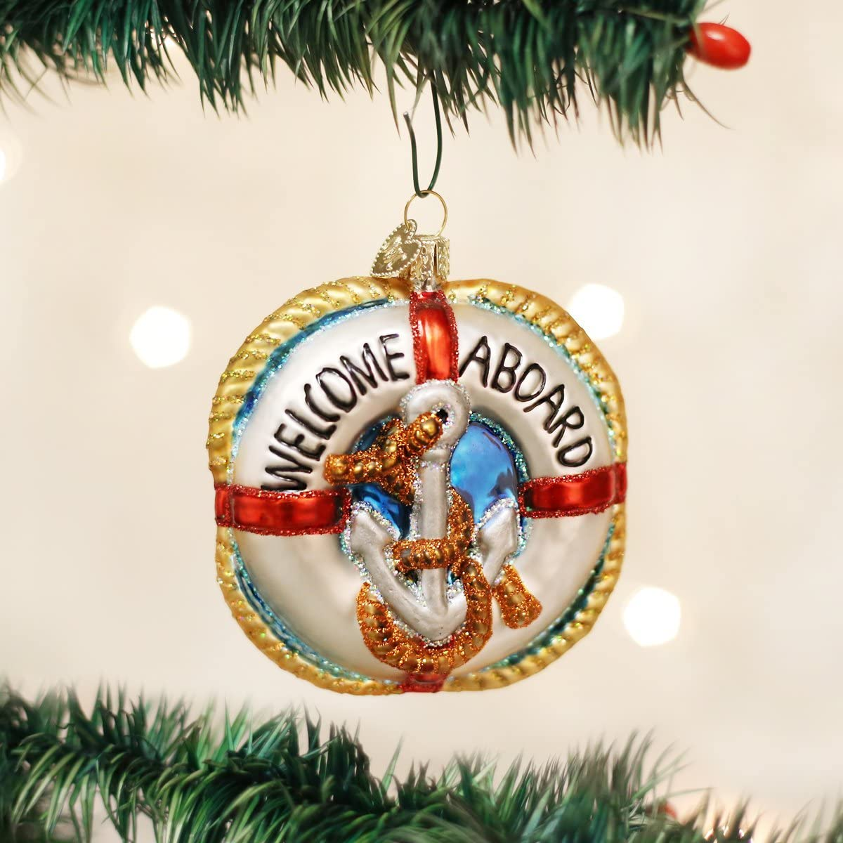 Old World Christmas Life Preserver Glass Blown Ornament