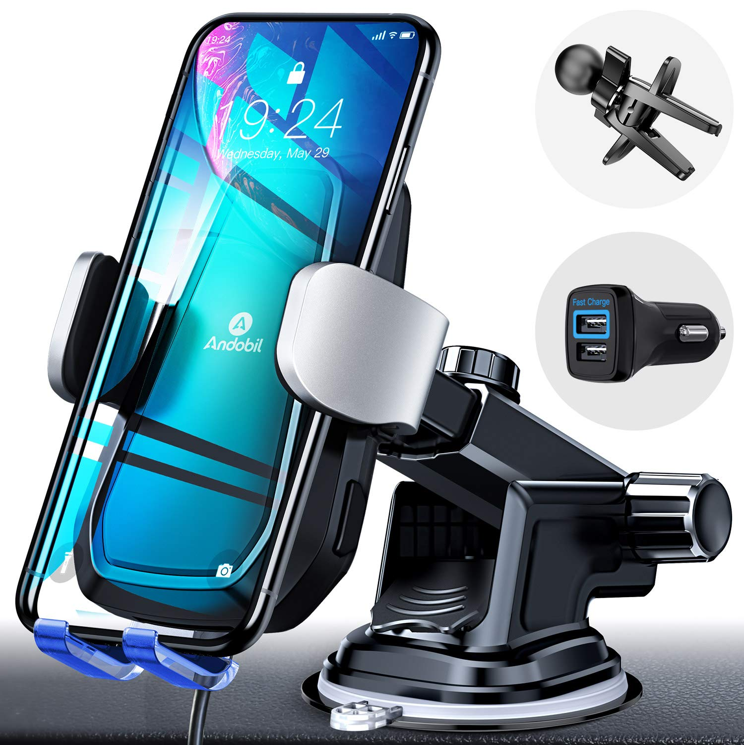Andobil Automatic Clamping Wireless Car Charger Mount, Qi 10W 7.5W Fast Charging Air Vent Dashboard Phone Holder for iPhone 11 Xs Max XR 8 Plus, Samsung Galaxy S10 S9 S8 Note 10/9 (with QC3.0 Adapter) by andobil