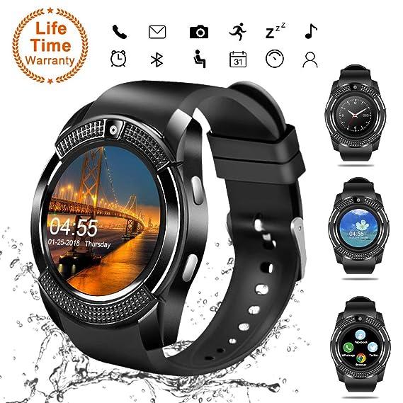 Smart Watch,Bluetooth Smartwatch Touch Screen Wrist Watch with Camera/SIM Card Slot,Waterproof Android Smart Watch Sports Fitness Tracker Phone Watch ...