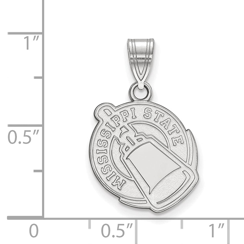 925 Sterling Silver Rhodium-plated Laser-cut Mississippi State University Medium Pendant