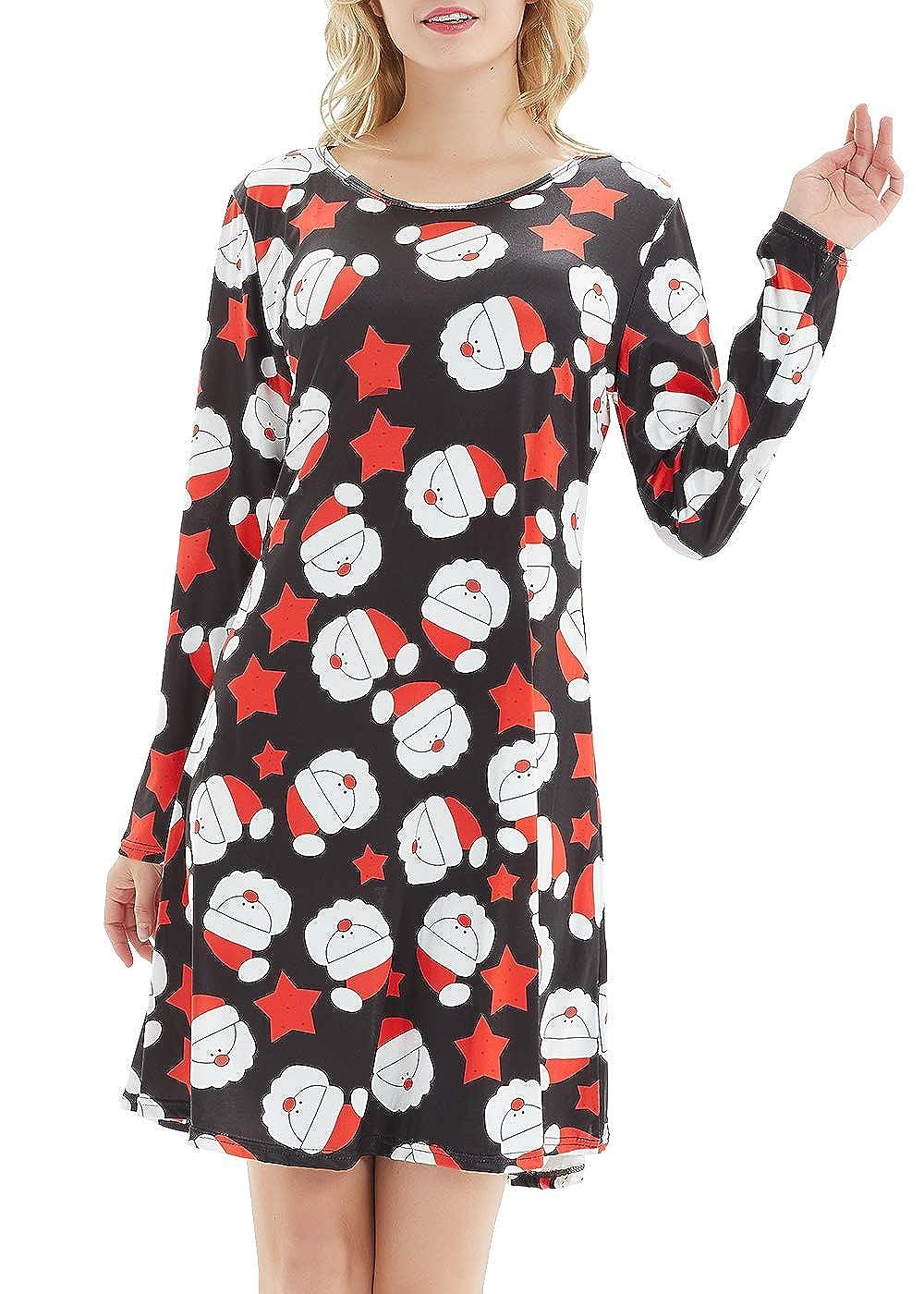 TWKIOUE Women's Christmas Long Sleeve Print Casual Dress