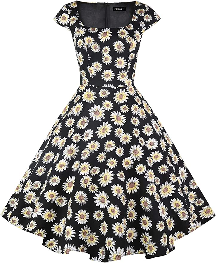 Vintage Style Dresses | Vintage Inspired Dresses PUKAVT Womens Cocktail Party Dress Cap Sleeve 1950 Retro Swing Dress with Pockets $28.99 AT vintagedancer.com