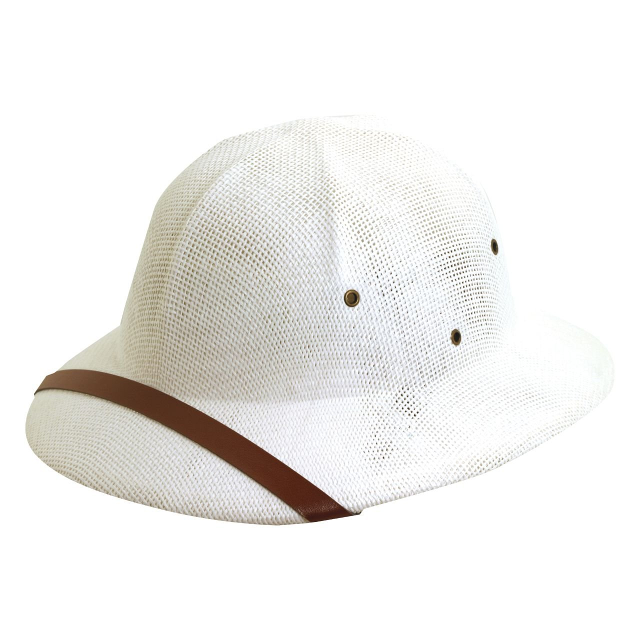 FQH Fine Twisted Toyo Pith Helmet, White