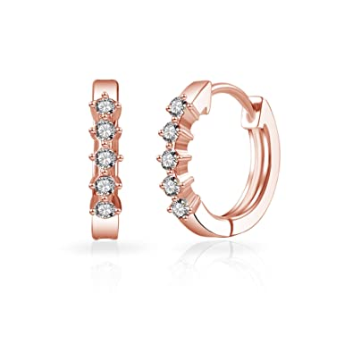 f01482673 Rose Gold Five Stone Hoop Earrings with Crystals from Swarovski: Amazon.co. uk: Jewellery