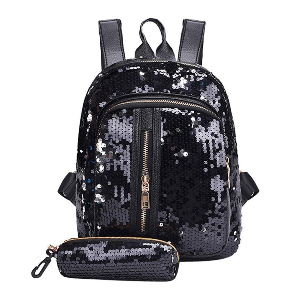 Hmlai Women Girl Fashion Sequins Backpack School Bag Travel Shoulder Bag+Small Clutch Wallet (Black)