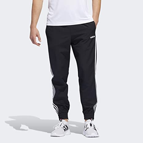 Adidas Men Essentials 3-Stripes Athletic Track Gym Run Black White Pants Jogger