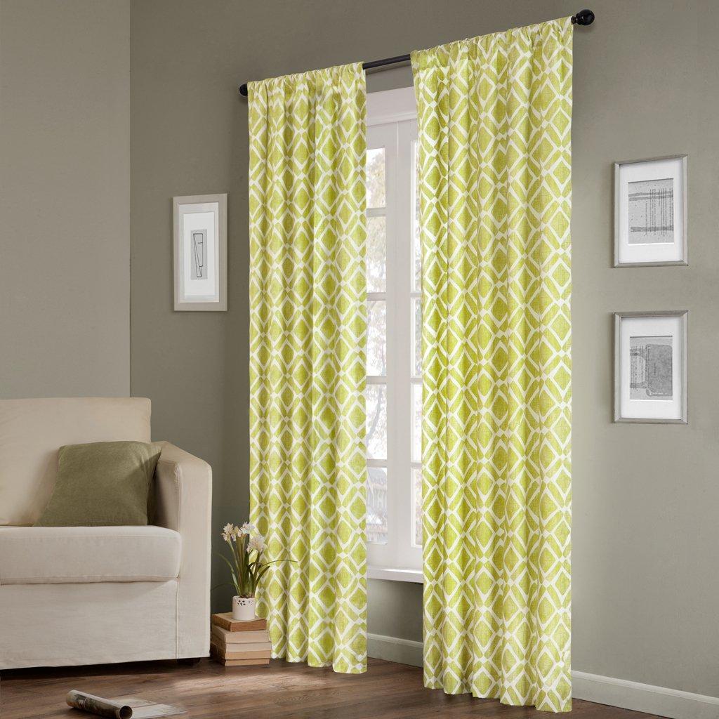 Grey Madison Park Delray Diamond Window Curtain Panel
