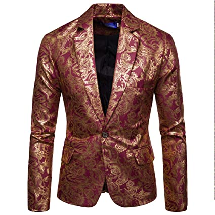 Amazon.com: elegantstunning Men Suit Bright Printing Suit ...