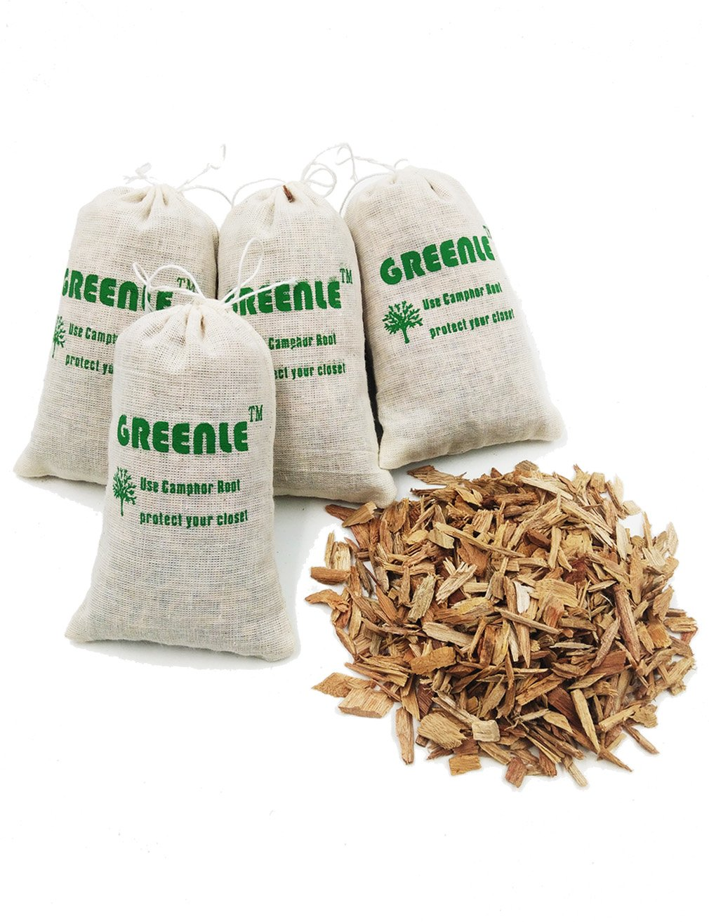 GREENLE Moth Repellent Sachets With Natural Camphorwood Root Chips Shaving Anti Moth for Closets Clothes Freshener Drawers Storage Accessories Pack of 4 Large Bags