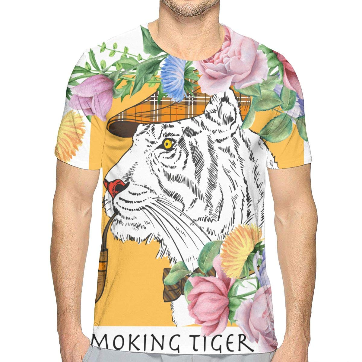 MONCCI White Tiger with Gentleman Neck Tie Fan Ultra Cotton Crewneck Classic Short Sleeve Adult Tee