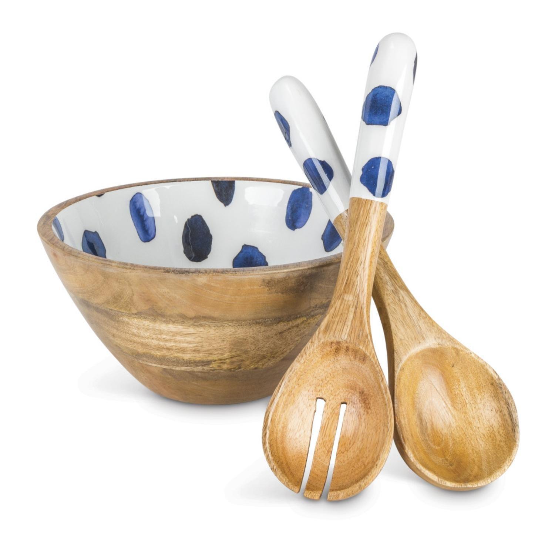 ブラウンandインディゴクラシカルスタイルポルカドットパターンServing Bowl and Spoon Set   B07DP363BY
