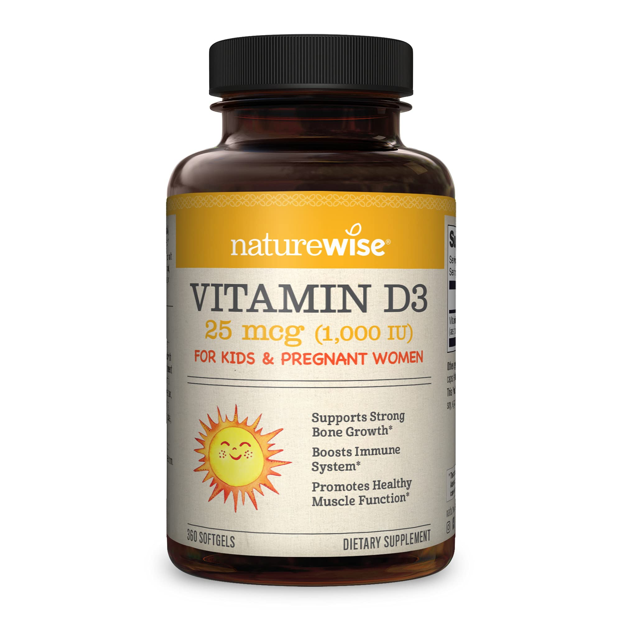 NatureWise Vitamin D3 1000IU (25 mcg), 1 Year Supply for Muscle Function, Bone Health, and Immune Support, Non-GMO, Gluten Free in Cold-Pressed Olive Oil, Packaging May Vary (360 Softgels)