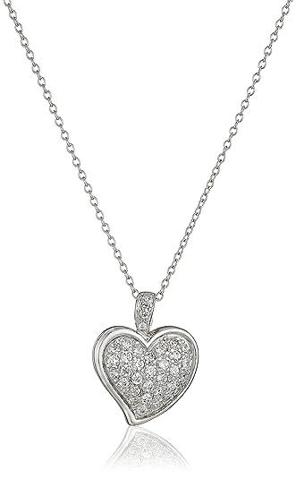 Amazon sterling silver cubic zirconia pave heart pendant 18 sterling silver cubic zirconia pave heart pendant 18quot aloadofball Choice Image
