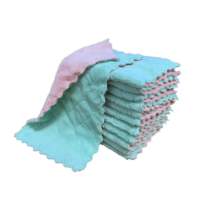 kimteny 12 Pack Kitchen Cloth Dish Towels, Premium Dishcloths, Super Absorbent Coral Velvet Dishtowels, Nonstick Oil Washable Fast Drying (Pink-Green)