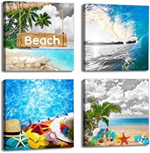 Canvas Wall Art for Bathroom - Tropical Beach Themed Canvas Wall Art Ocean Sea Waves Canvas Prints Pictures Palm Tree Canvas Painting Artwork for Living Room Bedroom Office Daughters Room Decor