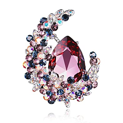 RAINBOW BOX Brooches for Women Fashion,Rhinestone from Swarovski Crystal  Jewelry Moon Brooch Pins, for Her