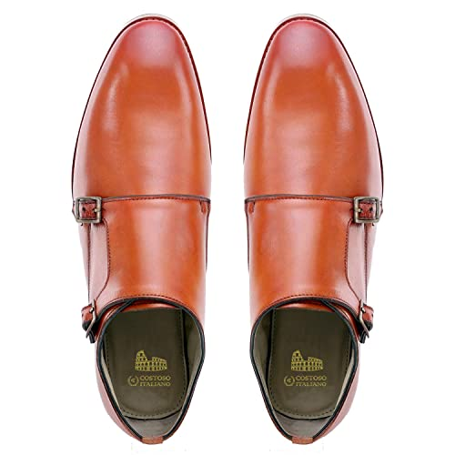 Costoso Italiano Tan Leather Formal Monk Strap Shoes For Men Buy