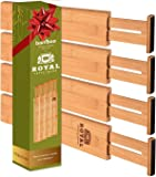 ROYAL CRAFT WOOD Expandable Bamboo Drawer Dividers Organizers - Adjustable Drawer Separators Best for Kitchen, Bathroom…