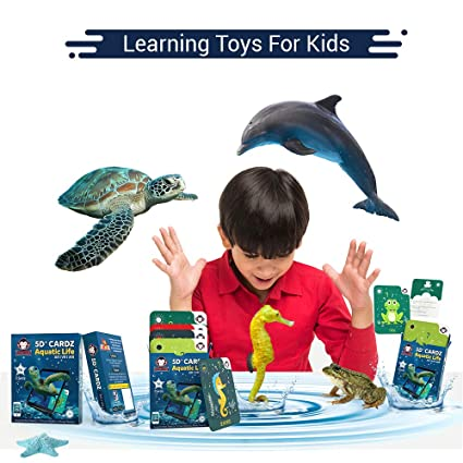 Educational Games for Girls from The Age of 3 to 8 Years |3D AR VR Kids  Flash Cards Sea Animals(16 Cards) | 3D Flash Cards Learning kit for Kids  iOS