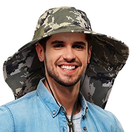 e745723d355 Image Unavailable. Image not available for. Color  Camo Mens Sun Hat Wide  Brim Safari Hunting Military Jungle Fishing Cap with Neck Flap