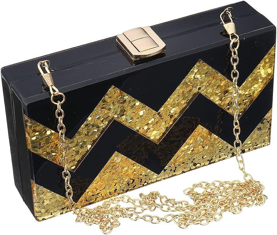 95a8f06356 Women Acrylic Silver and Gold Box Clutch Purse Striped Evening Crossbody  Bags (Black)