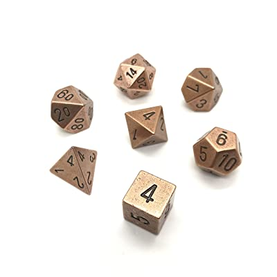 Chessex: 7-Die Set Metal: Copper Color - 27204: Toys & Games
