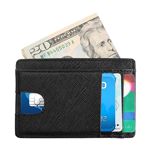 6f645fe04c5 Slim Wallet RFID Front Pocket Wallet Minimalist Secure Thin Credit Card  Holder for Men Women at Amazon Men s Clothing store