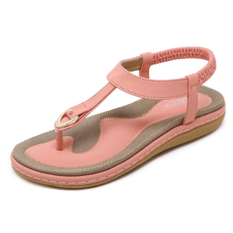 katliu Damen Sommer Sandalen Bouml;hmische Zehentrenner Sommerschuhe Frauen Flach Outdoor Schuhe  35 EU|Pink