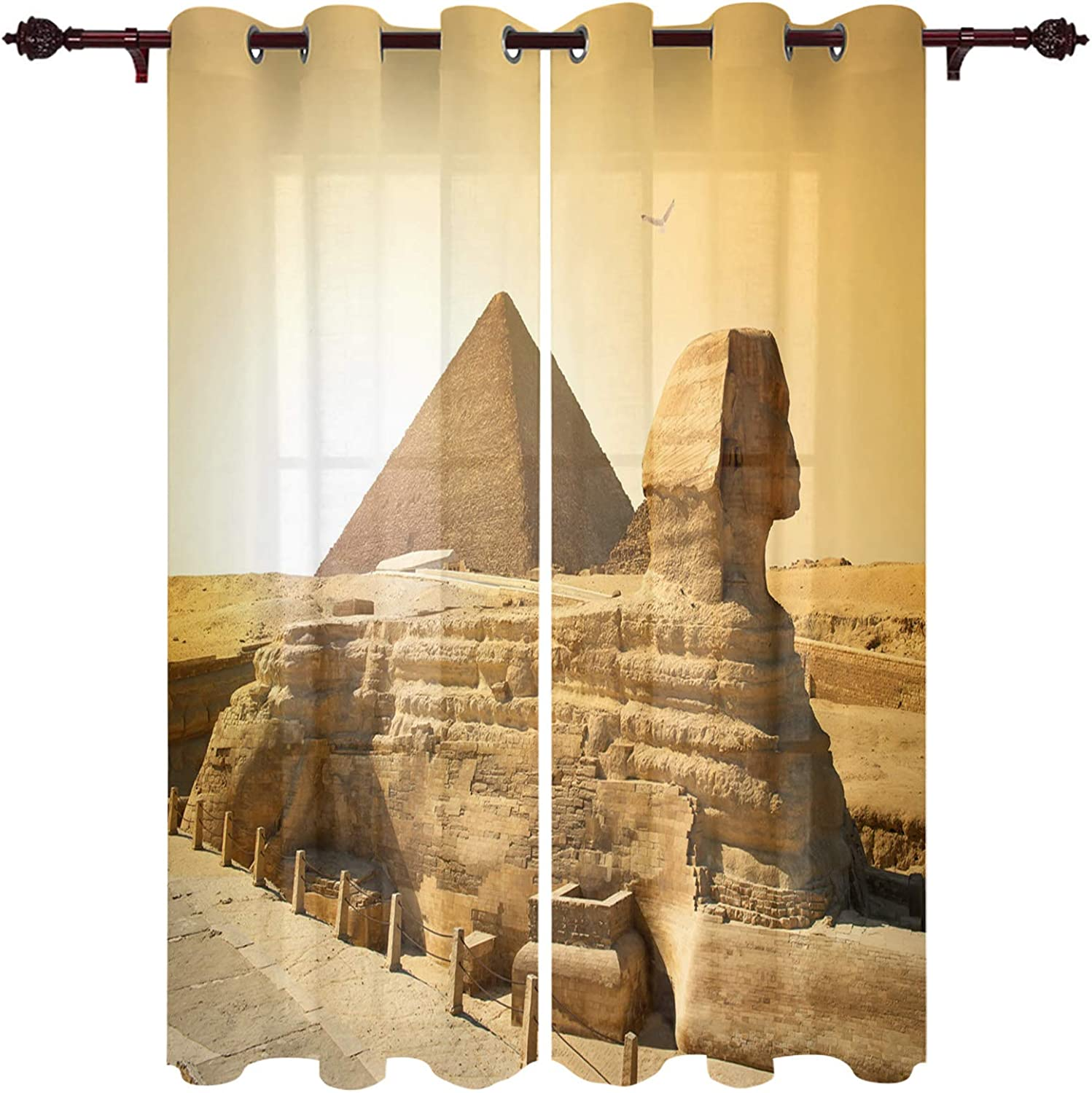 Grommet Top Home Curtain Old Egyptian Pyramids History in Desert with Flying Eagle Bird Window Curtains Pair Drapes for Bedroom, Living Room - Set of 2 Panels, 40