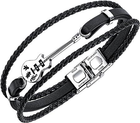 guitare bracelet jonc orn/é d/'une guitare//fl/èche avec fermoir /à rabat en acier inoxydable Fate Love Bracelet multi-brins en cuir tress/é pour hommes 19/cm