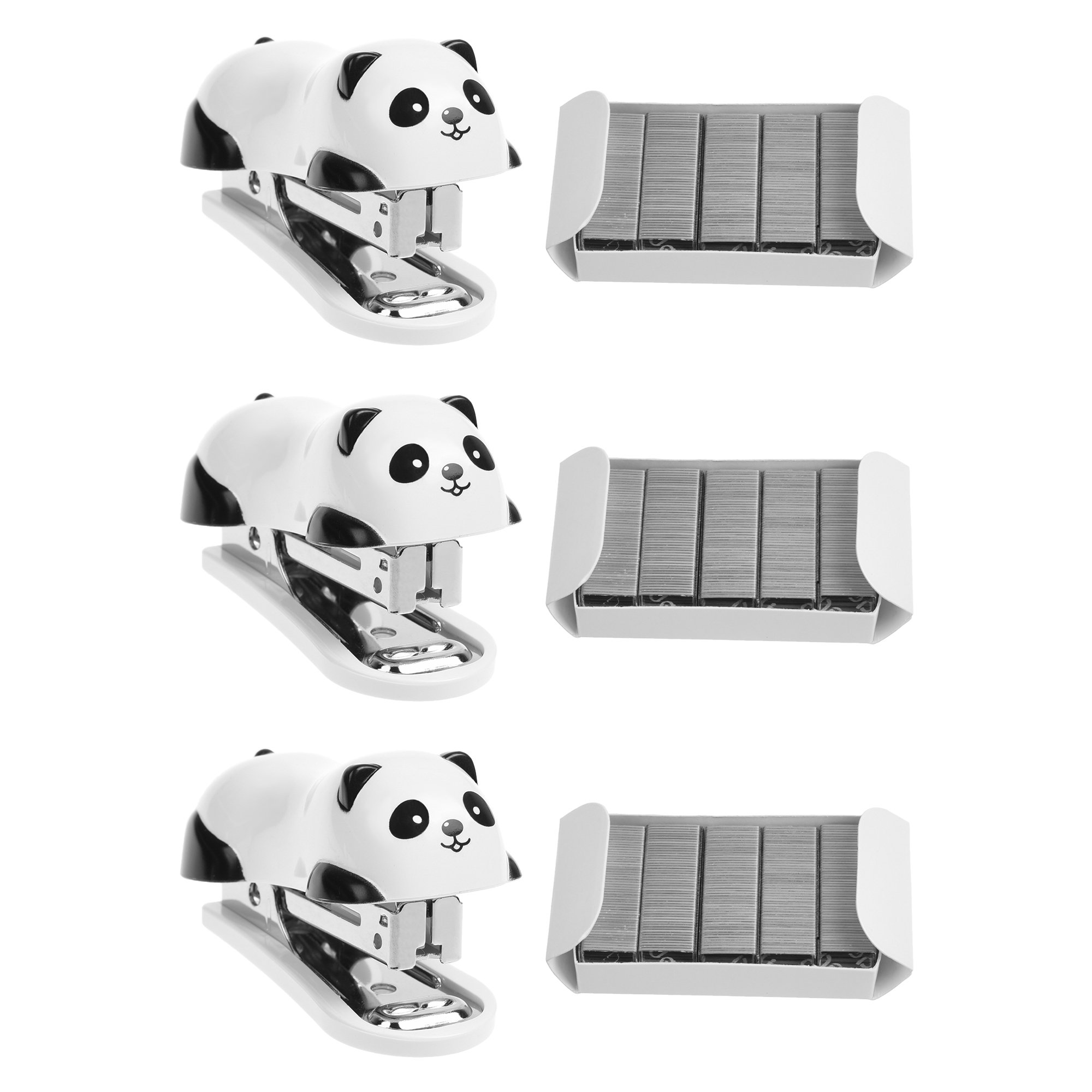 Kloud City Pack of 3 Cute Mini Panda Staplers with 1000Pcs Replace Staples Cartoon Desktop Staplers Best Award to School Student Office Stationery Supplies